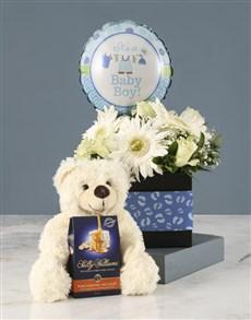 gifts: Mixed Roses Baby Boy Hamper!