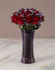 flowers: Red Roses in a Purple Vase!