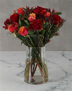 flowers: Fiery Cherry Brandy Rose Arrangement!