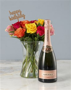 flowers: Bright and Bubbly Mixed Rose Hamper!