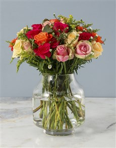 flowers: Graceful Mixed Roses in Vase!