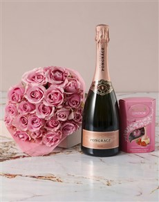 flowers: Pink Paradise Roses Bouquet with Champagne!