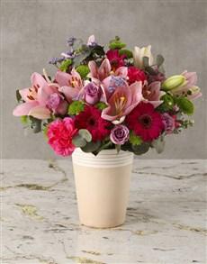 flowers: Candyfloss Pink Mixed Blooms Arrangement!