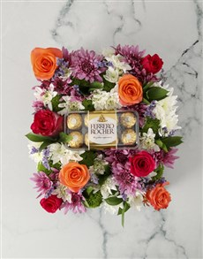 gifts: Rainbow Blooms Arrangement with Chocs!