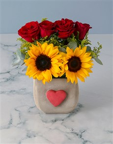 flowers: Sunflower and Red Rose Delight!