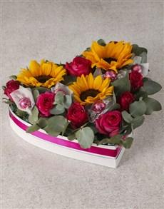 flowers: Sunflower and Rose Heart Arrangement!
