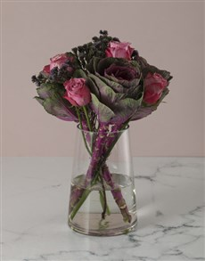 gifts: Pristine Pink Roses And Kale Arrangement!