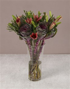 gifts: Enchanting Pink Lilies And Kale Arrangement!
