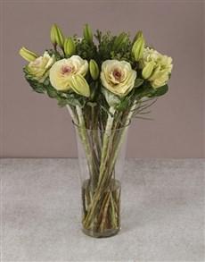 flowers: Wondrous White Lilies And Kale Arrangement!