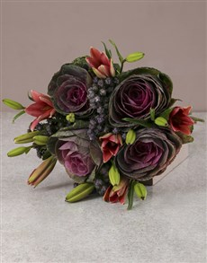 gifts: Pink Lilies And Kale Bouquet!