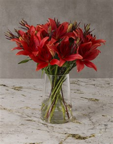flowers: Ruby Red Lily Arrangement!