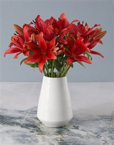 flowers: Radiant Red Lily Arrangement!