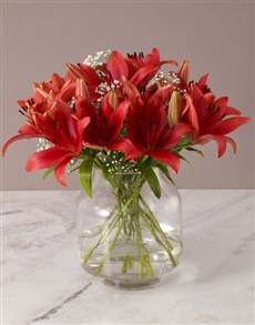 flowers: Luxurious Red Lily Arrangement!