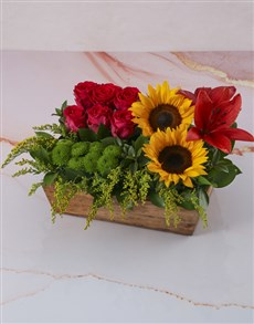 flowers: Sunflower Box Of Red And Pinks!