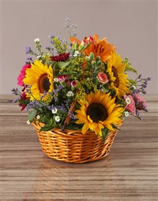 flowers: Summer Garden Sunflower Basket!