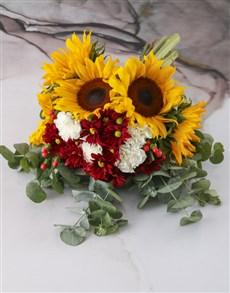 flowers: Sunset Sunflower And Carnation Bouquet!