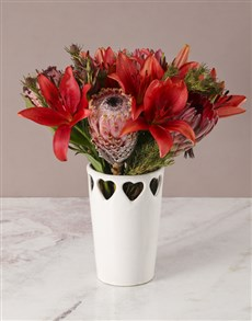 gifts: Rich Red Protea Arrangement!