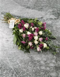 flowers: White And Purple Rose Sympathy Bouquet!