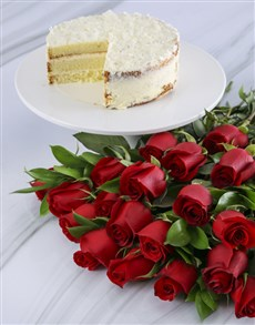 flowers: Red Rose Bouquet With Vanilla Cake!