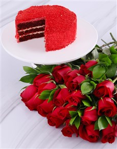 flowers: Double Red Cake And Rose Combo!