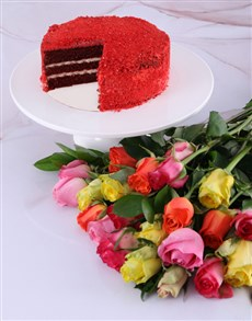 flowers: Mixed Roses And Chateaux Gateaux Red Velvet Cake!