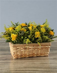 flowers: Sunshine Roses in a Basket!