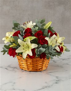 flowers: Red and White Blooms in Basket!