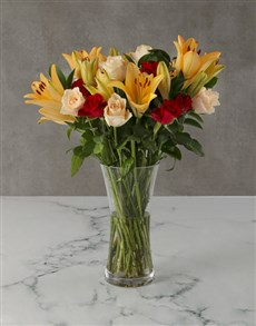flowers: Sunset Lily and Rose Bouquet!