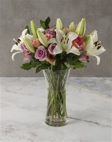flowers: Perfect Pink and Purple Blossoms Bouquet!