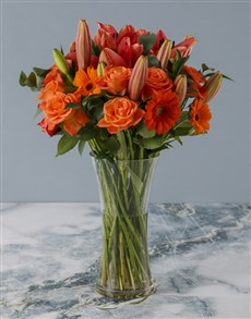 flowers: Glorious Red and Orange Blossom Bunch!