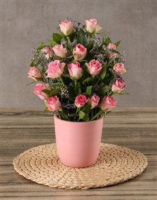 flowers: Pretty Pink Roses in a Pot!