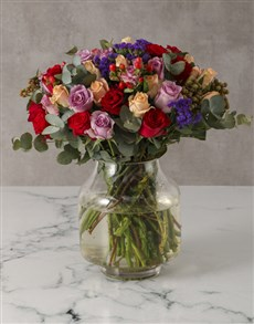 flowers: Mixed Roses In A Modern Vase!