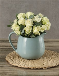 flowers: Delicate White Rose Bouquet !