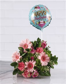 gifts: Pink Birthday Blooms With A Balloon!