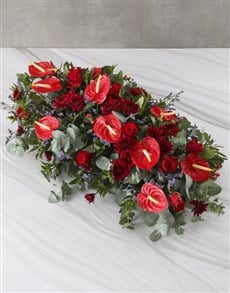 flowers: Gorgeous Anthurium Funeral And Coffin Display!