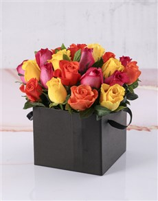 flowers: Black Boxed Of Mixed Blooms!