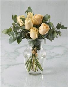 gifts: Classy Cream Roses In Vase!