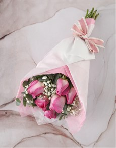 flowers: Pretty Pink Roses In Pink Paper!