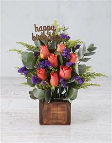 flowers: Happy Birthday Orange Rose Arrangement!