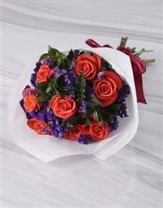 flowers: Striking Orange Roses In White Wrapping!