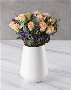 flowers: Peach Rose Simplicity In White Vase!