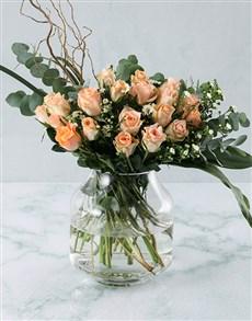 flowers: Peach Rose Fantasy Arrangement!
