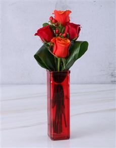 flowers: Cherry Brandy Roses In Red Vase!