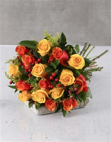 flowers: Cherry Brandy And Yellow Rose Bouquet!