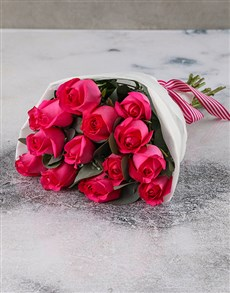 flowers: Gorgeous And Classy Cerise Rose Bouquet!