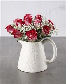 flowers: Gorgeous Roses In Birdie Jug!