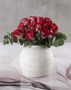flowers: Classic Variegated Rose Vase!