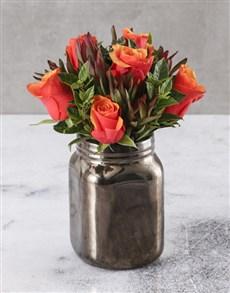flowers: Cherry Brandy Roses In A Bronze Vase!