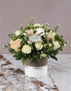 flowers: Peach Roses Condolence Arrangement!