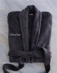 gifts: Personalised Charcoal Fleece Gown!